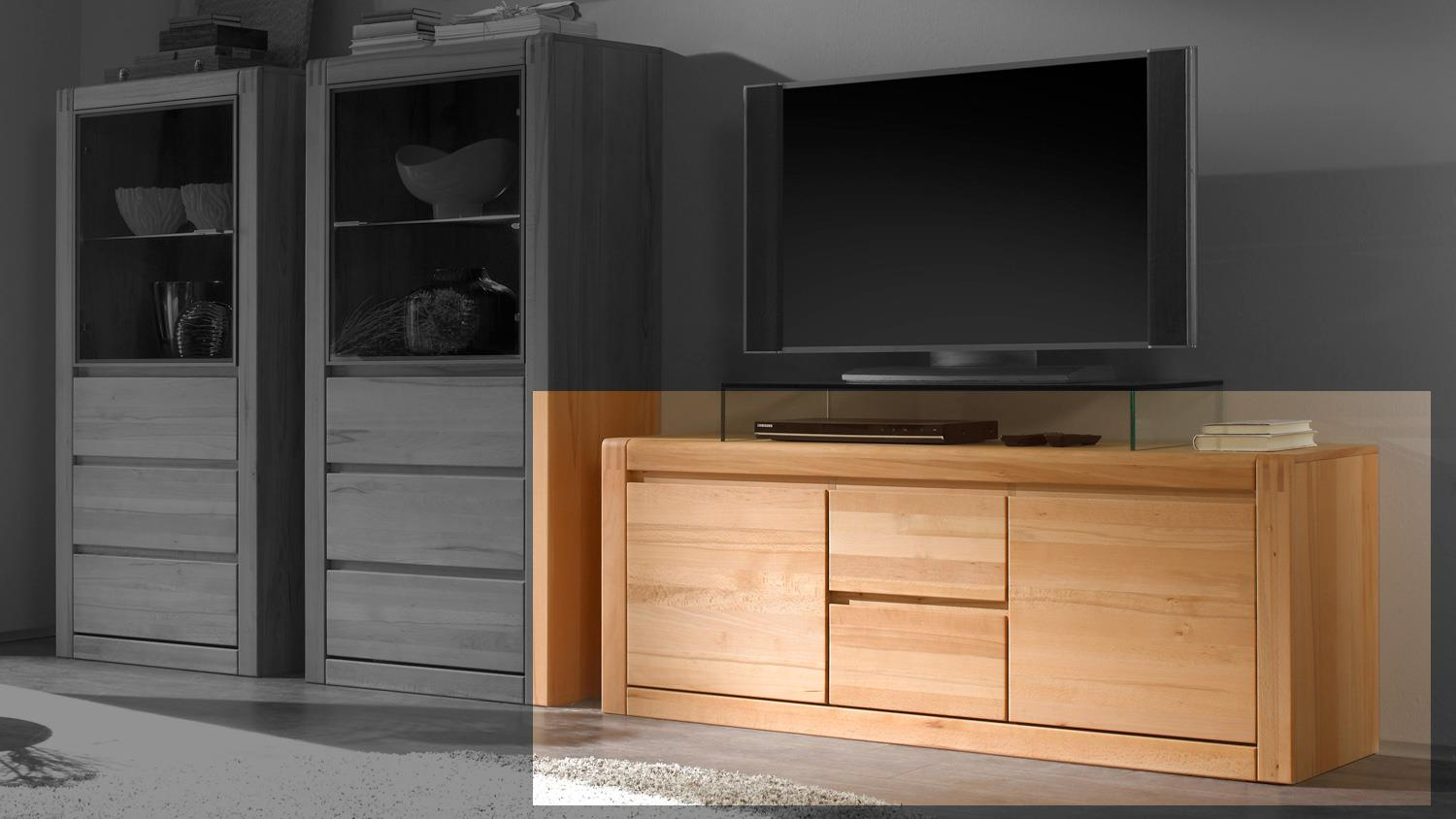 tv board ponto lowboard in kernbuche teilmassiv 147 cm. Black Bedroom Furniture Sets. Home Design Ideas