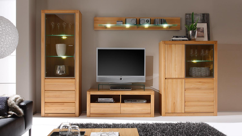 wohnwand ponto 3 anbauwand kernbuche teilmassiv. Black Bedroom Furniture Sets. Home Design Ideas