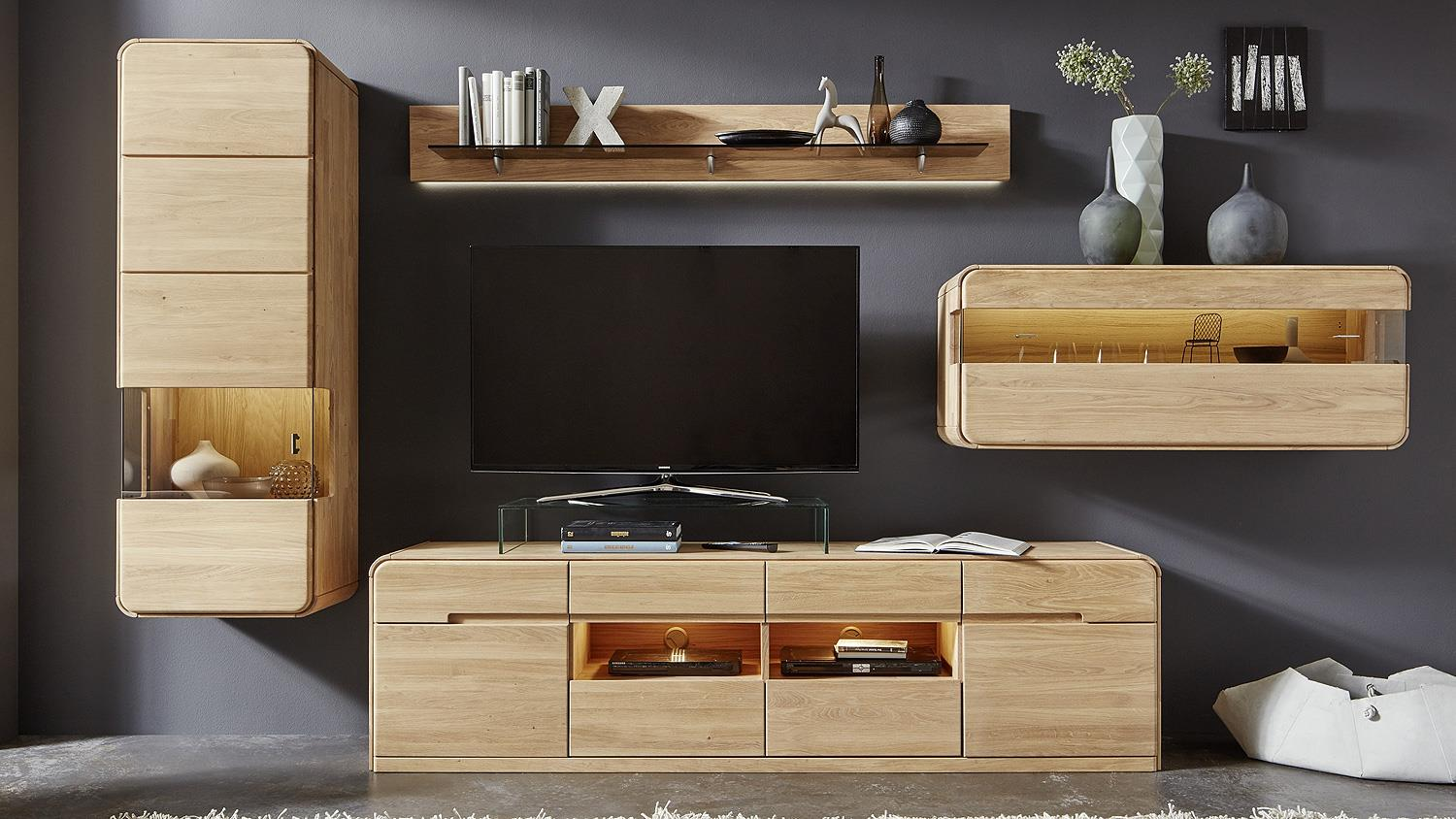 wohnwand round anbwaund wohnkombi wohnzimmer in eiche. Black Bedroom Furniture Sets. Home Design Ideas