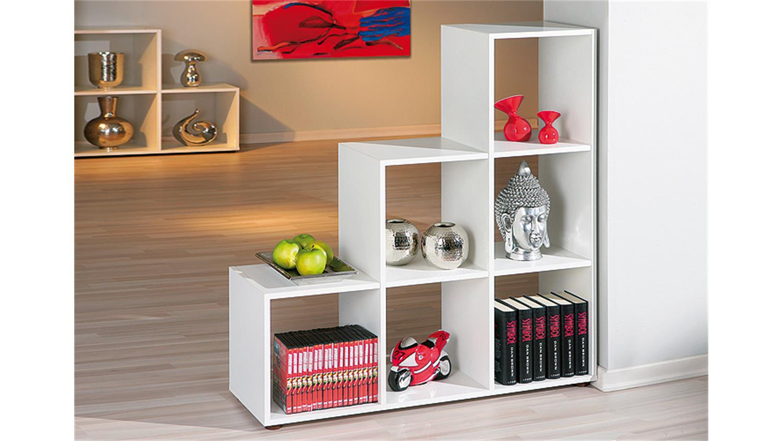 raumteiler cadore regal stufenregal in wei dekor 6 f cher. Black Bedroom Furniture Sets. Home Design Ideas