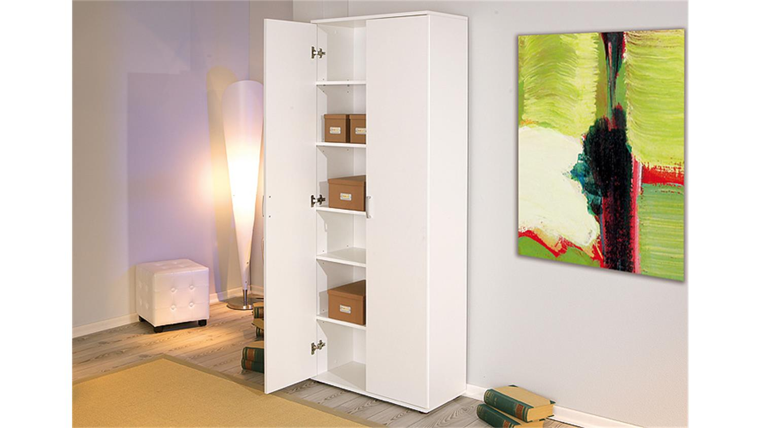 mehrzweckschrank 2 t riger schrank in wei dekor b 70 cm. Black Bedroom Furniture Sets. Home Design Ideas