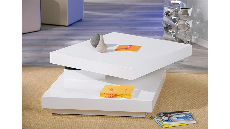 Couchtisch DUOMO Tischplatte In MDF Weiss Hochglanz Drehbar