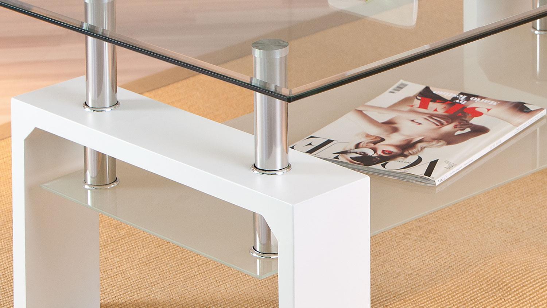 couchtisch alva glastisch wohnzimmer tisch in wei und glas. Black Bedroom Furniture Sets. Home Design Ideas