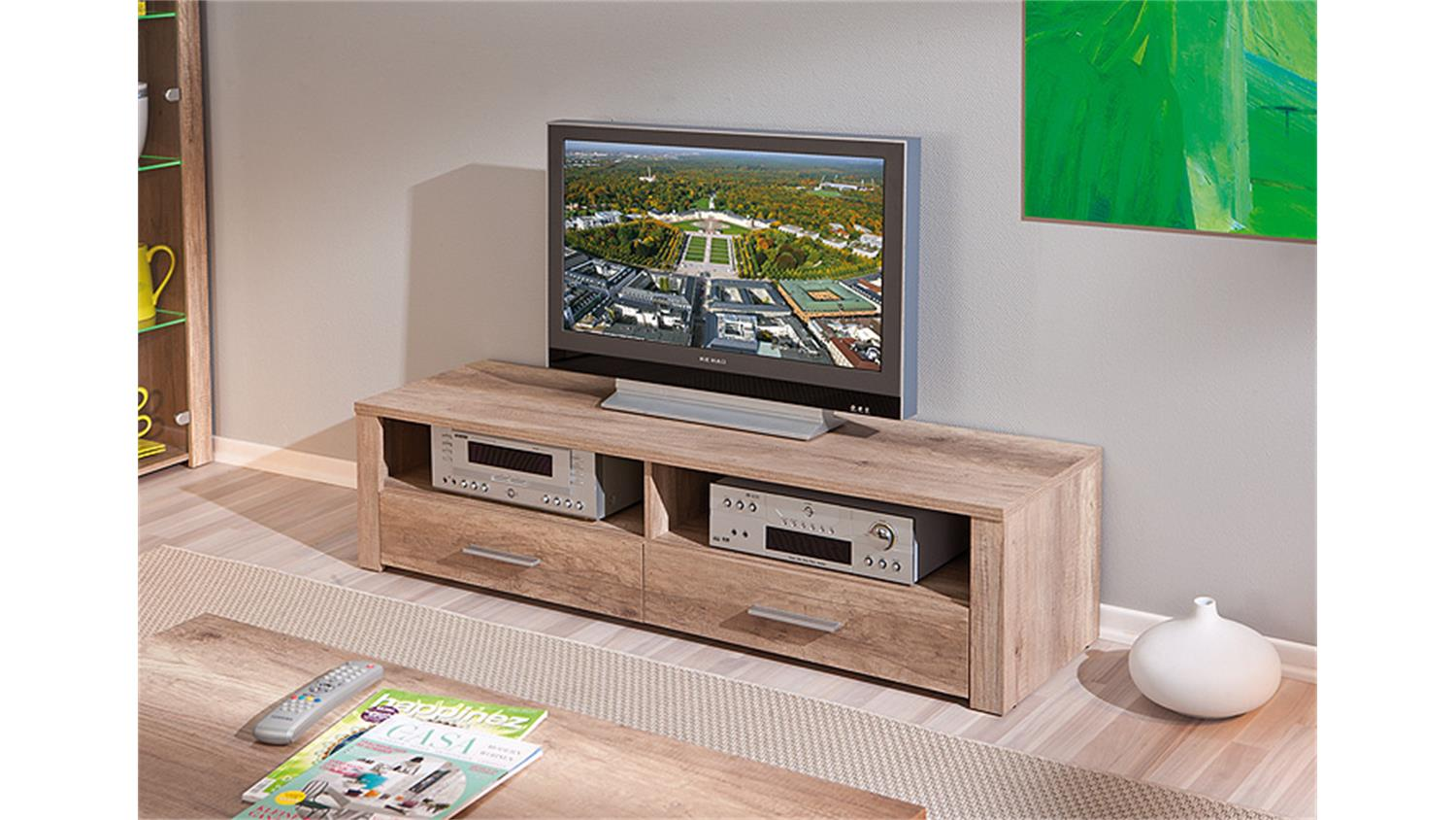 tv board absoluto lowboard unterschrank in wildeiche. Black Bedroom Furniture Sets. Home Design Ideas