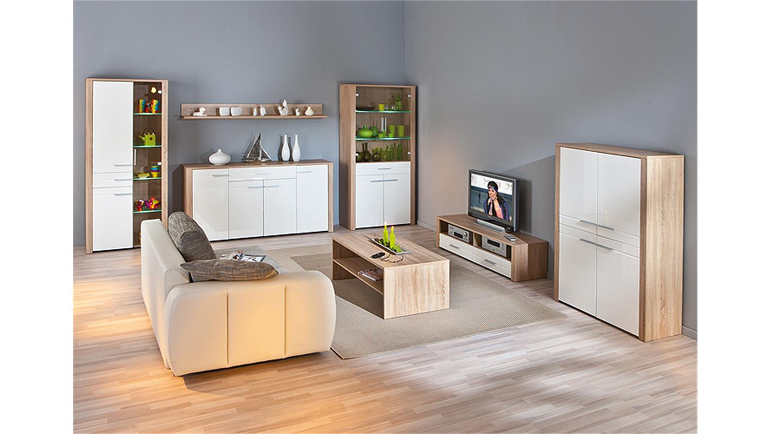 highboard absoluto sonoma eiche wei hochglanz. Black Bedroom Furniture Sets. Home Design Ideas