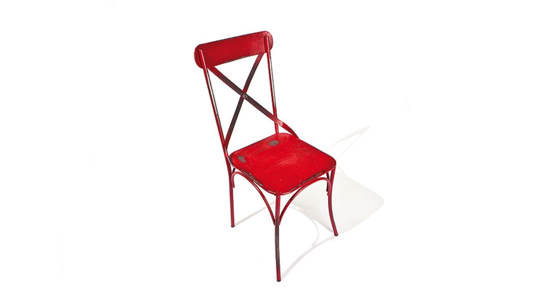 stuhl bistro 2er set rot mit metallgestell industrie look. Black Bedroom Furniture Sets. Home Design Ideas