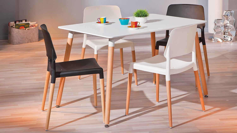 esstisch marten mdf wei lackiert buche massiv 120x74 cm. Black Bedroom Furniture Sets. Home Design Ideas