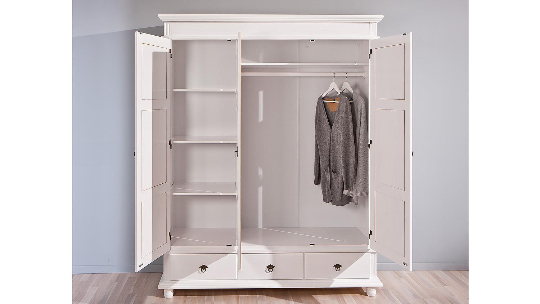 Kleiderschrank weiß landhausstil 3 türig  DANZ Kiefer massiv weiß lackiert 3-türig