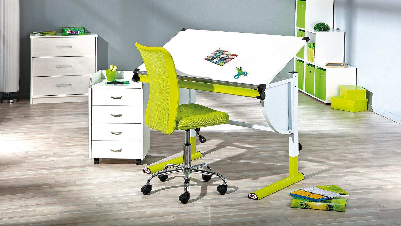kinder schreibtisch cetrix wei und metall gr n lackiert. Black Bedroom Furniture Sets. Home Design Ideas