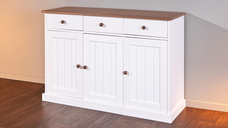 sideboard westerland kiefer massiv wei braun lackiert. Black Bedroom Furniture Sets. Home Design Ideas