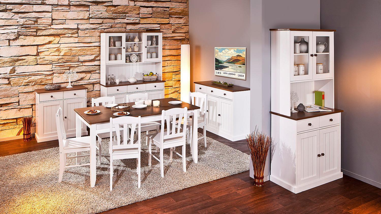 Wohnzimmermöbel weiß braun  Vitrine WESTERLAND Kiefer massiv weiß braun lackiert