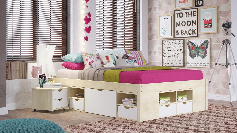 funktionsbett gudjam bett mdf wei lackiert massivholz. Black Bedroom Furniture Sets. Home Design Ideas