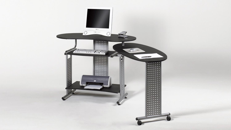 Computertisch mit rollen  TWIN in schwarz mit Tastaturauszug und Rollen 120-170 cm