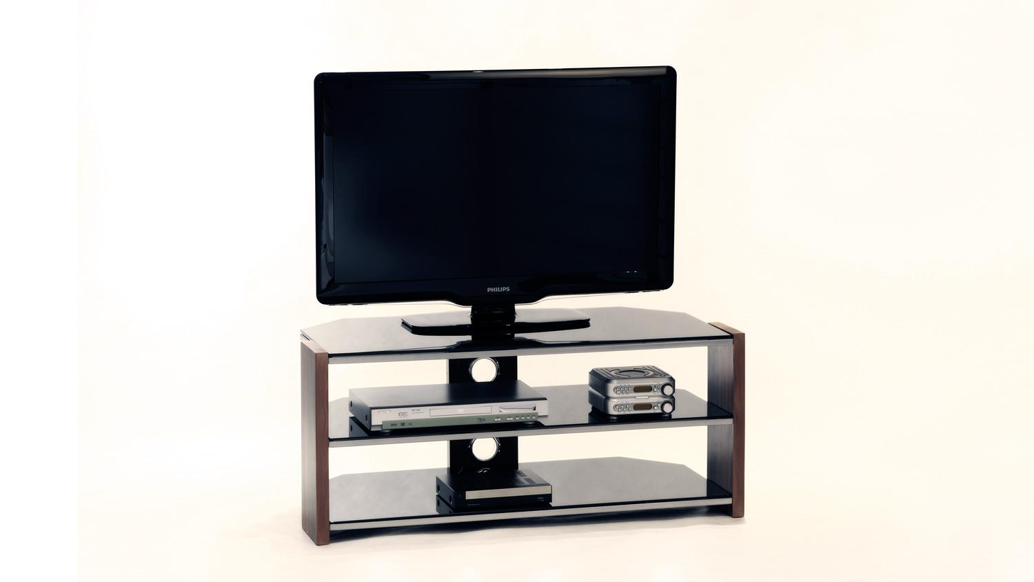 tv board orlando tv rack walnuss schwarzglas mit metallrahmen 105 cm. Black Bedroom Furniture Sets. Home Design Ideas