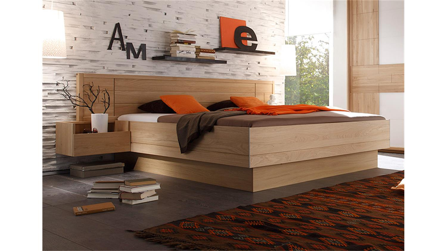 bettanlage vigo bett in eiche teilmassiv mit nachtkonsolen 180x200. Black Bedroom Furniture Sets. Home Design Ideas