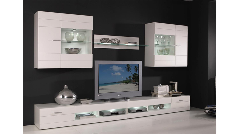 wohnwand carero 4 wohnzimmer anbauwand wei hochglanz. Black Bedroom Furniture Sets. Home Design Ideas