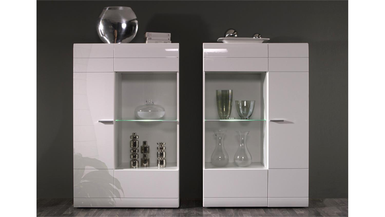 vitrine carero 2er set front wei mdf hochglanz. Black Bedroom Furniture Sets. Home Design Ideas
