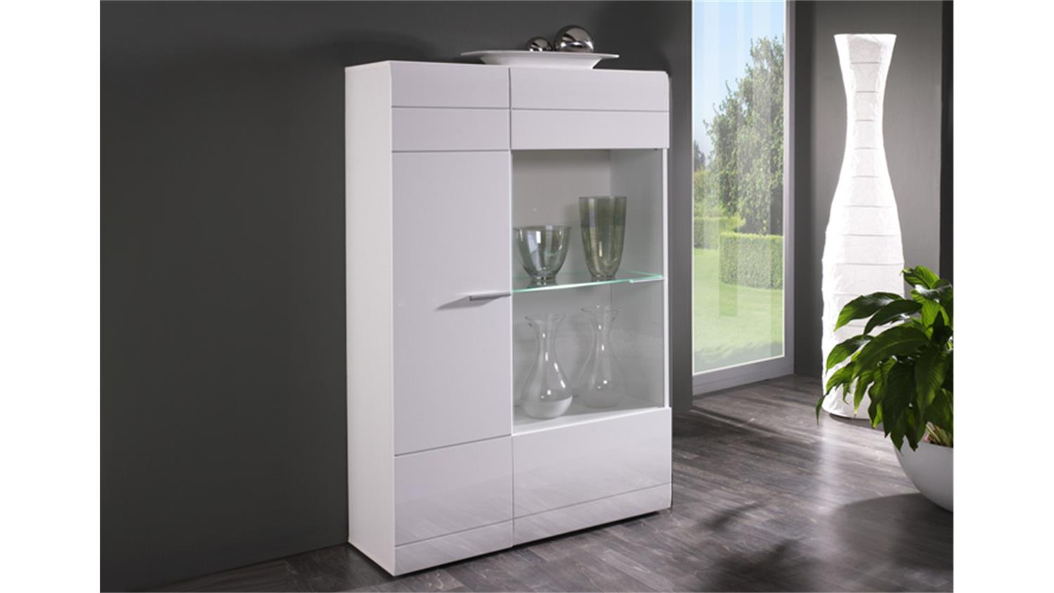 vitrine l carero kleine wohnzimmer vitrine wei hochglanz. Black Bedroom Furniture Sets. Home Design Ideas