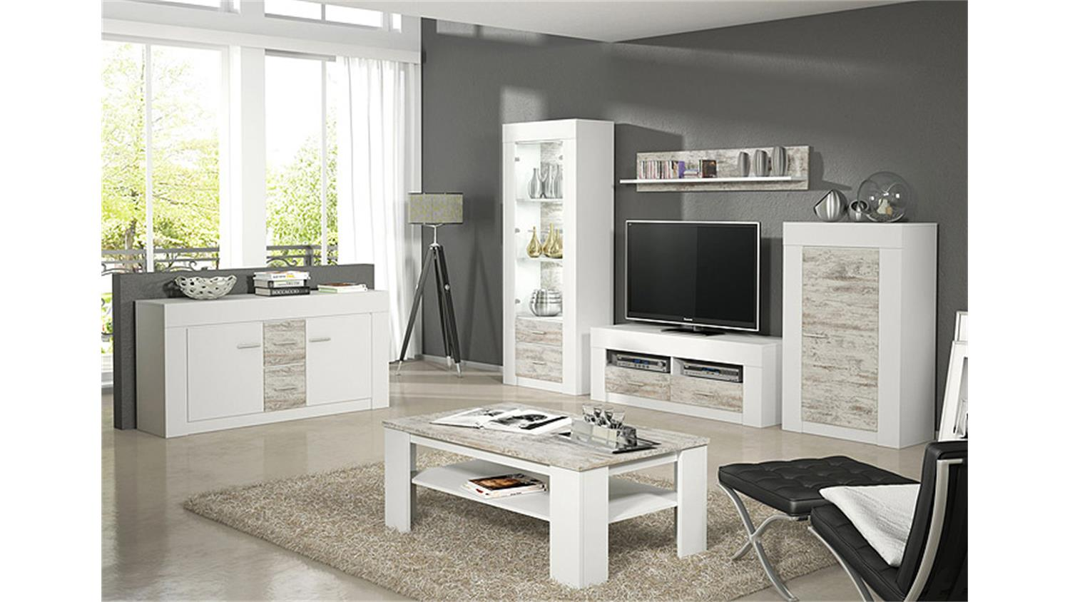 couchtisch castell in wei und canyon white pine 118 cm. Black Bedroom Furniture Sets. Home Design Ideas