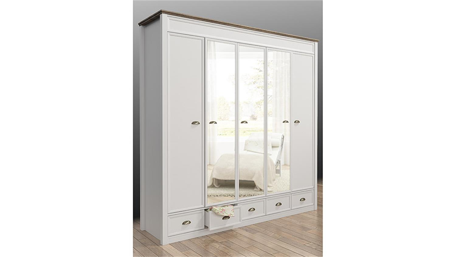 kleiderschrank chateau in wei und san remo eiche 220 cm. Black Bedroom Furniture Sets. Home Design Ideas
