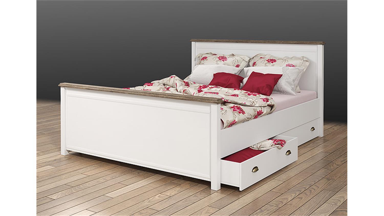 bett chateau in wei und san remo eiche 160x200. Black Bedroom Furniture Sets. Home Design Ideas