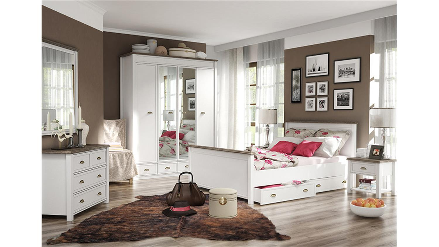 schlafzimmer chateau in wei und san remo eiche. Black Bedroom Furniture Sets. Home Design Ideas