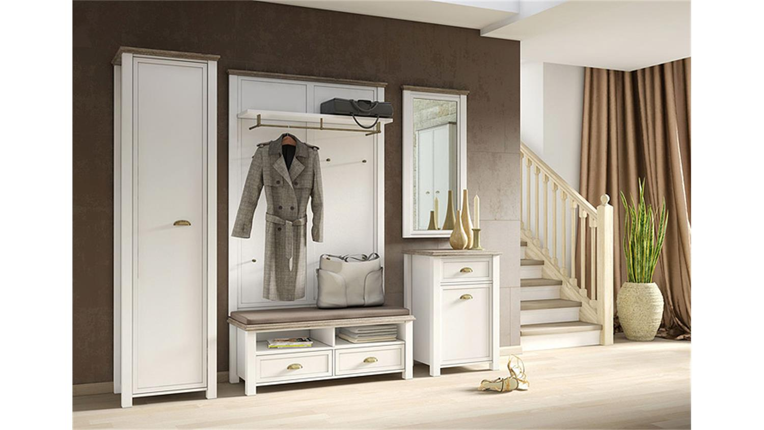 garderobe 4 chateau in wei und san remo eiche. Black Bedroom Furniture Sets. Home Design Ideas