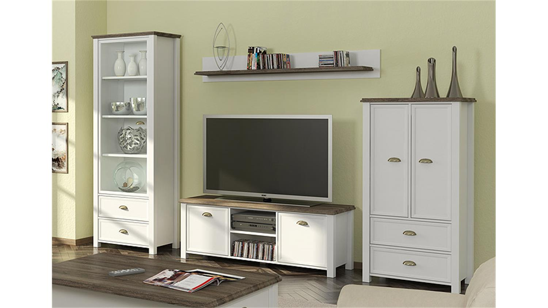 wohnwand 3 chateau in wei und san remo eiche. Black Bedroom Furniture Sets. Home Design Ideas