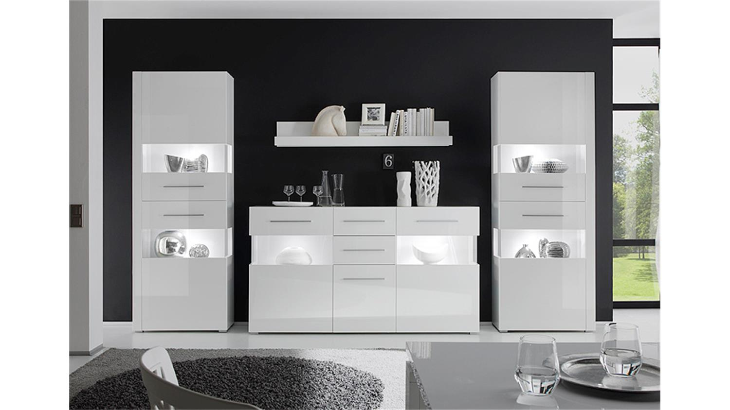 wohnwand 3 star mdf wei hochglanz tiefzieh. Black Bedroom Furniture Sets. Home Design Ideas