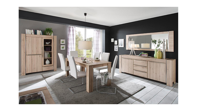 highboard malm denmark eiche edelstahl optik geb rstet. Black Bedroom Furniture Sets. Home Design Ideas