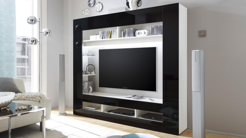 wohnwand media center anbauwand in schwarz glanz. Black Bedroom Furniture Sets. Home Design Ideas