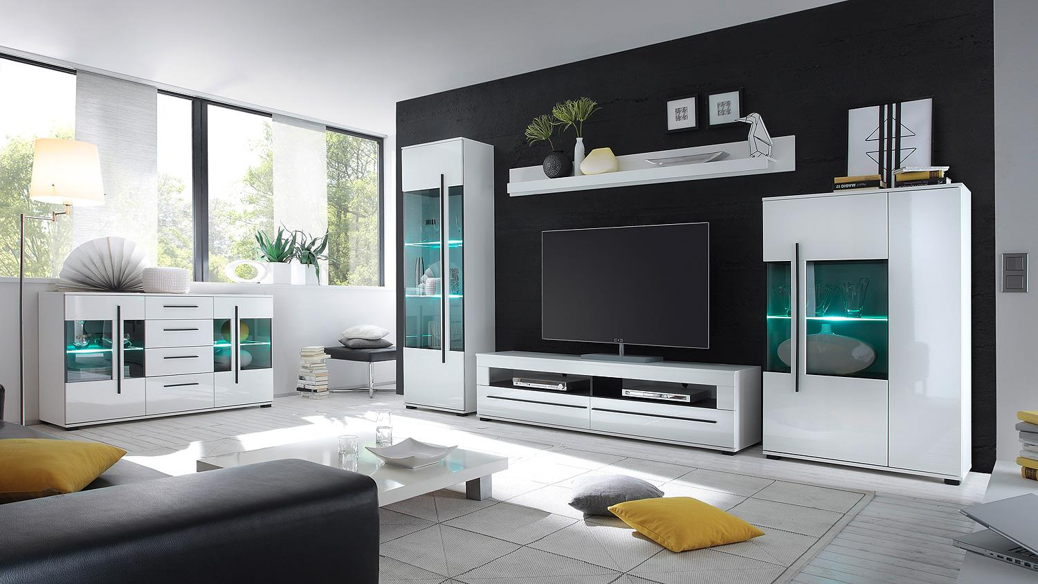 wohnwand cantara anbauwand wohnkombi in wei hochglanz. Black Bedroom Furniture Sets. Home Design Ideas