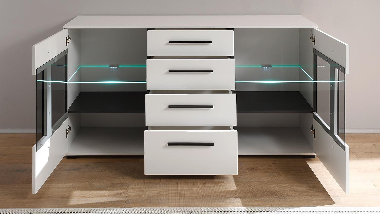 sideboard cantara kommode anrichte in wei hochglanz. Black Bedroom Furniture Sets. Home Design Ideas