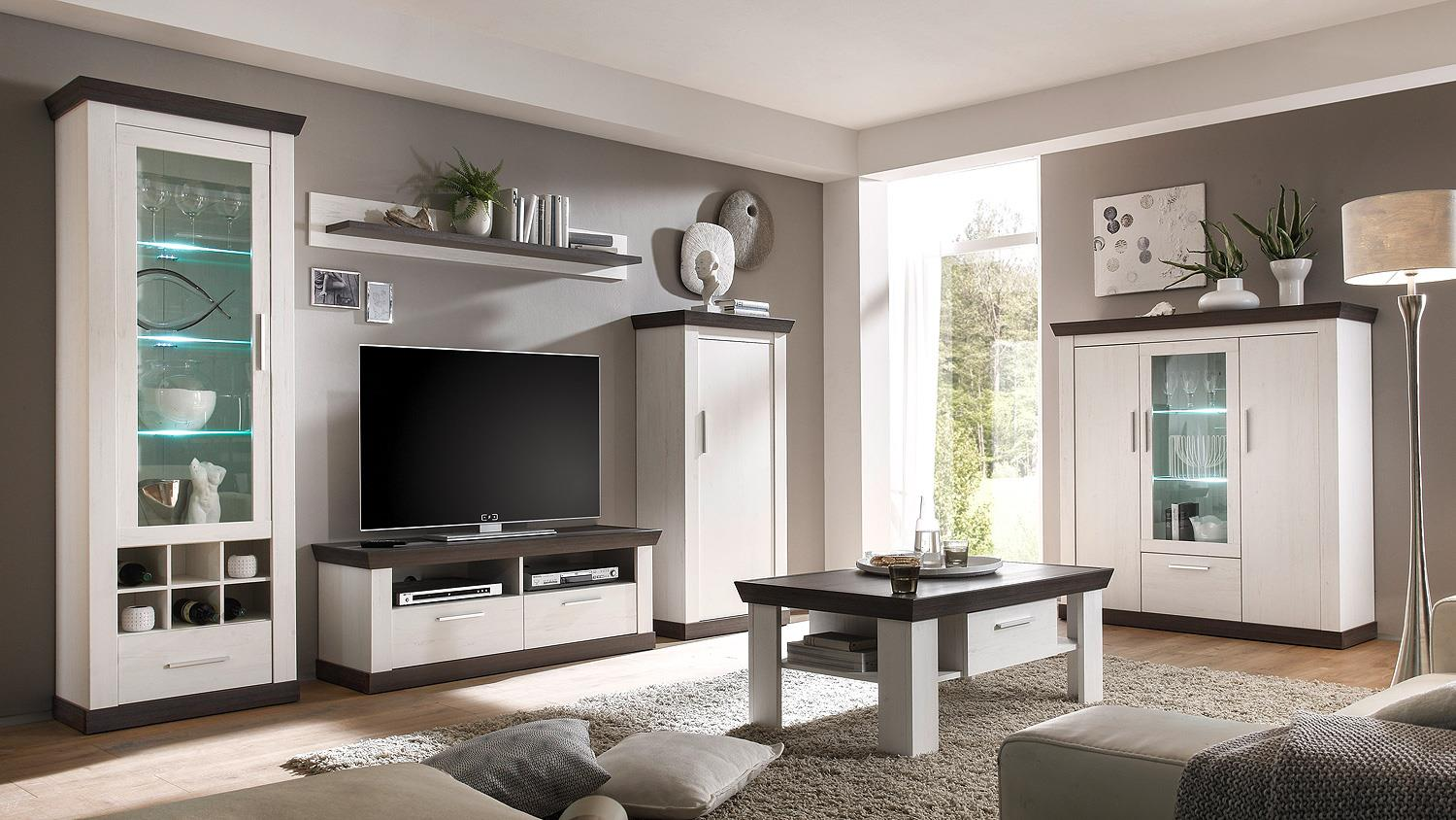 lowboard tiena tv board in pinie wei und wenge haptik 134. Black Bedroom Furniture Sets. Home Design Ideas