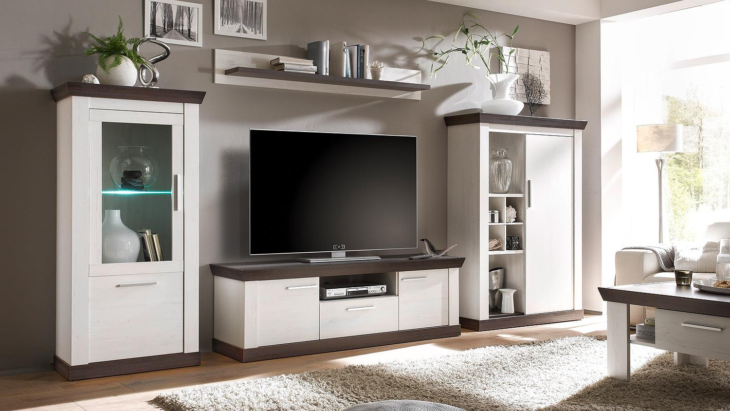 lowboard tiena tv board in pinie wei und wenge haptik 156. Black Bedroom Furniture Sets. Home Design Ideas