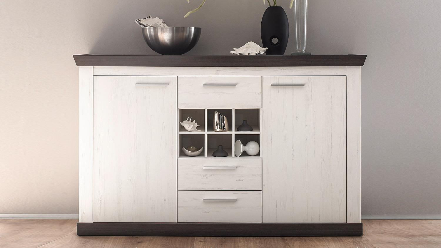 sideboard tiena kommode in pinie wei und wenge haptik. Black Bedroom Furniture Sets. Home Design Ideas