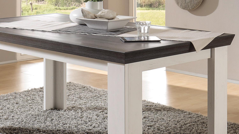 Esstisch tiena tisch in pinie wei und wenge haptik 159 cm for Esstisch wenge ausziehbar