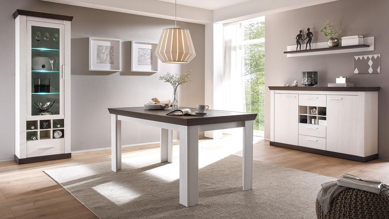 Esstisch Tiena Tisch In Pinie Weiss Und Wenge Haptik 159 Cm
