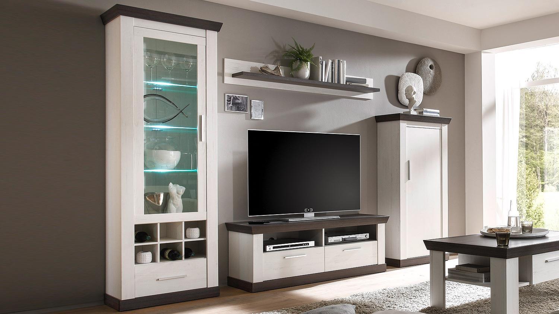 wohnwand 2 tiena in pinie wei und wenge haptik inkl led. Black Bedroom Furniture Sets. Home Design Ideas