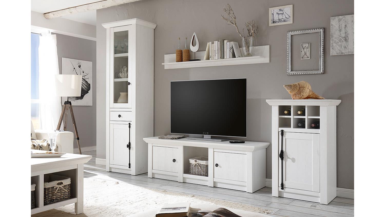 wohnwand 3 westerland anbauwand in pinie wei. Black Bedroom Furniture Sets. Home Design Ideas