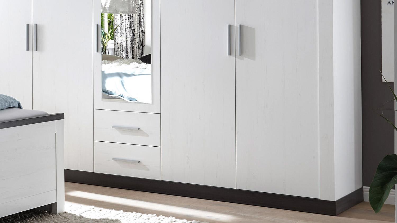 kleiderschrank tiena schrank pinie wei abs wenge haptik. Black Bedroom Furniture Sets. Home Design Ideas