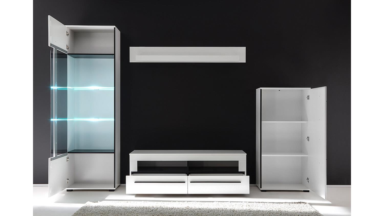 wohnwand cantara 2 anbauwand in wei hochglanz. Black Bedroom Furniture Sets. Home Design Ideas