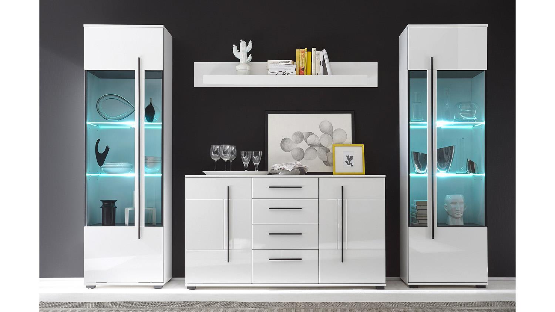 wohnkombi cantara anbauwand in wei hochglanz. Black Bedroom Furniture Sets. Home Design Ideas