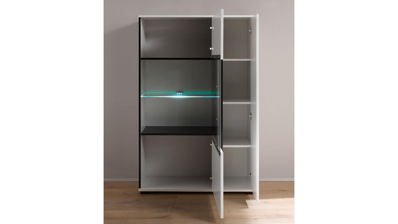 vitrine cantara highboard in wei hochglanz b 90 cm. Black Bedroom Furniture Sets. Home Design Ideas