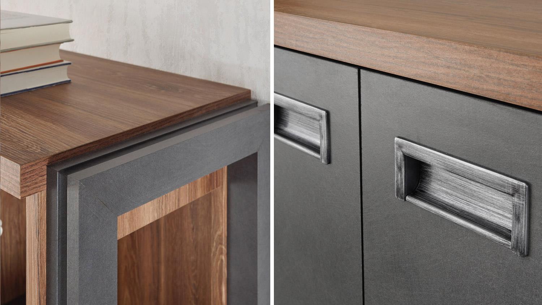 wohnwand home office detroit stirling oak und matera anthrazit. Black Bedroom Furniture Sets. Home Design Ideas