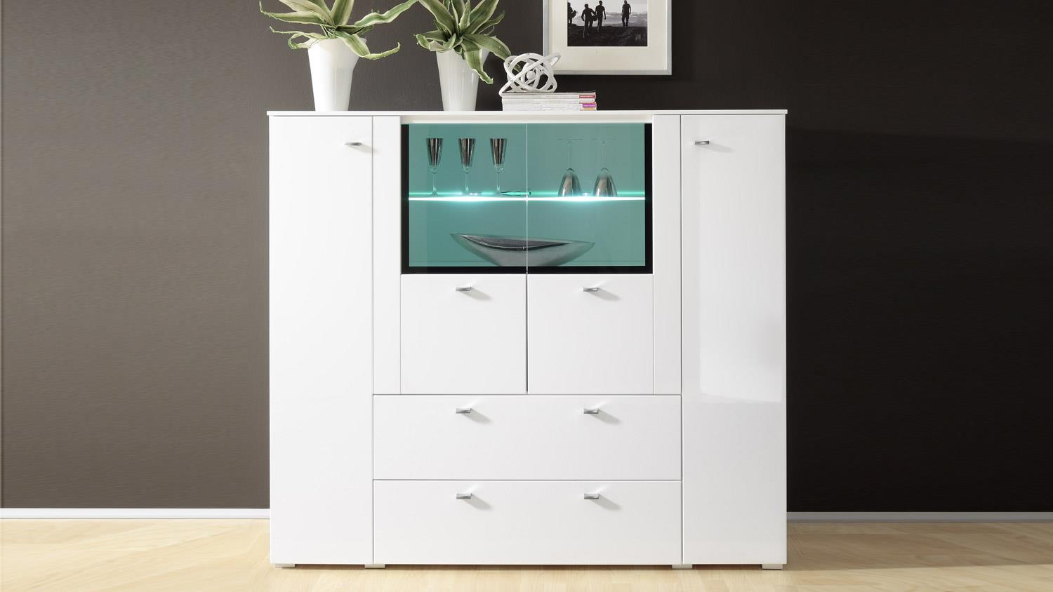 Highboard light one kommode in wei hochglanz mit softclose for Kommode highboard