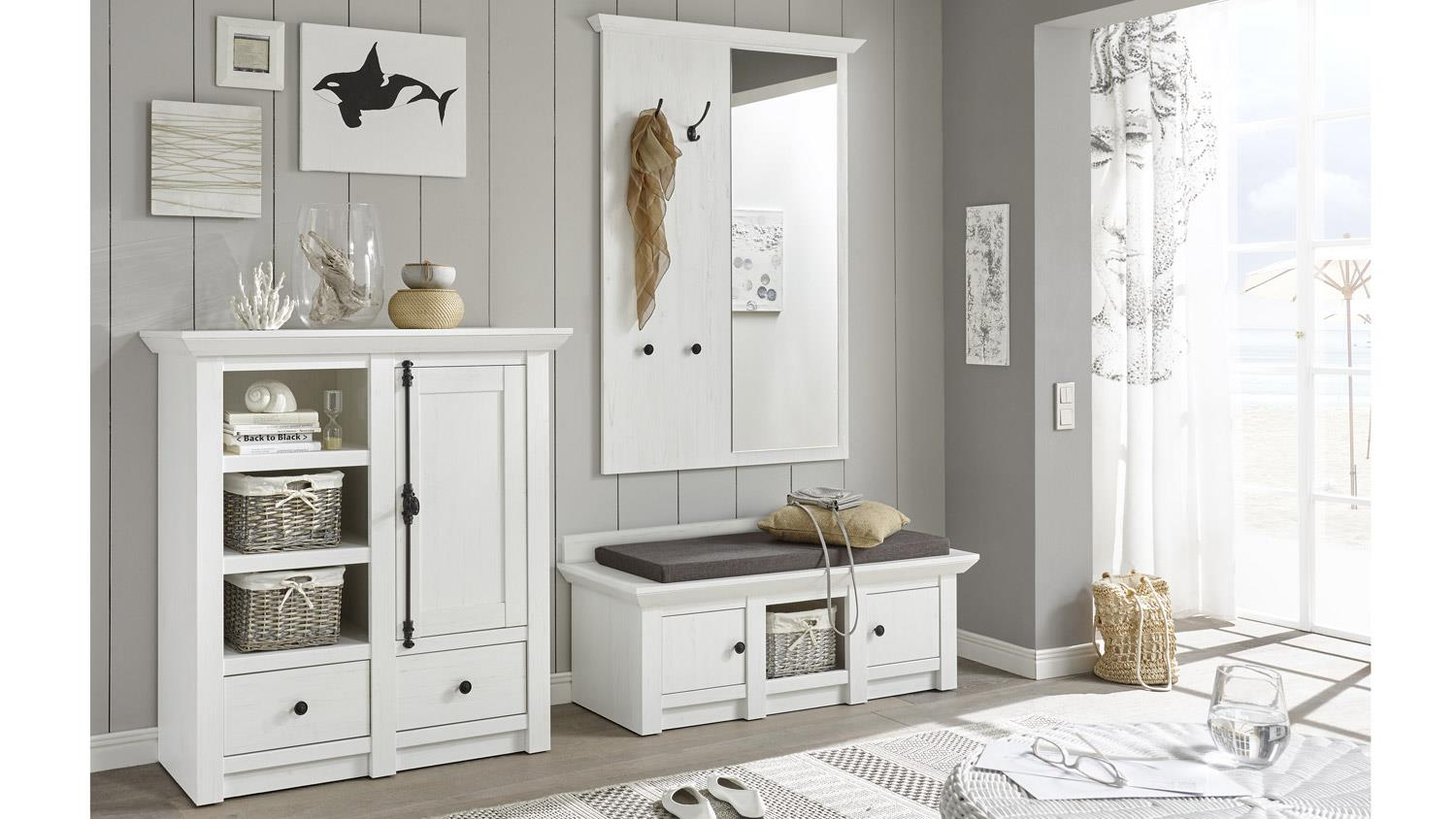 garderobe set westerland 1 mit paneel in pinie wei. Black Bedroom Furniture Sets. Home Design Ideas