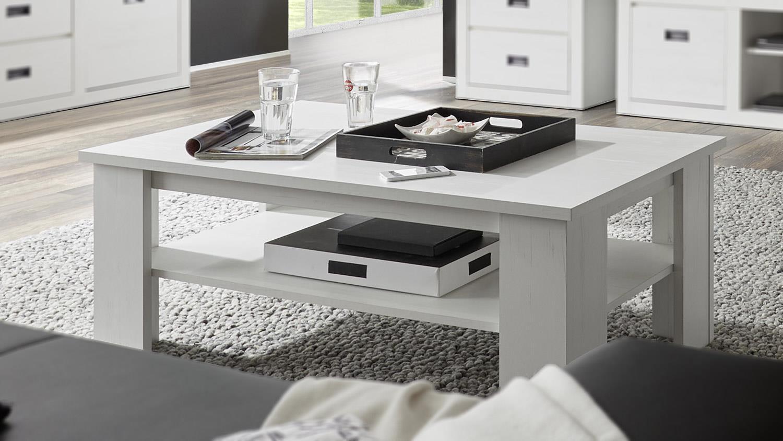 couchtisch biarritz beistelltisch in pinie wei mit ablage. Black Bedroom Furniture Sets. Home Design Ideas