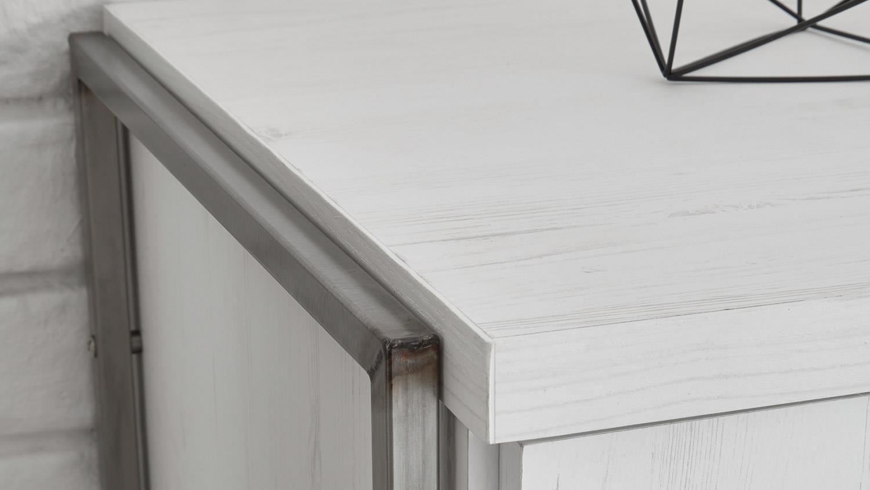 regal frames 1 hochregal in pinie wei und metall. Black Bedroom Furniture Sets. Home Design Ideas