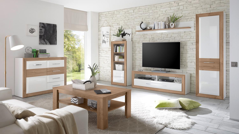 wohnwand 2 passepartout in mdf wei hochglanz und. Black Bedroom Furniture Sets. Home Design Ideas
